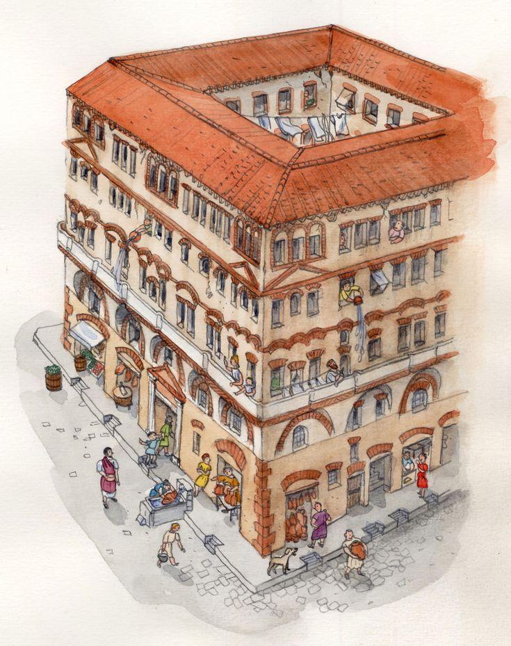 Romeinse insula. Insula betekent tevens 'eiland', omdat de appartementsblokken als eilanden werden gebouwd voor de brandveiligheid in de Romeinse steden.