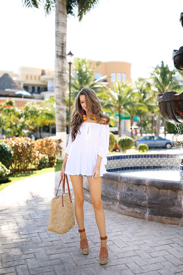 white off shoulder top, straw tote, espadrille wedges. perfect outfit for Mexico!
