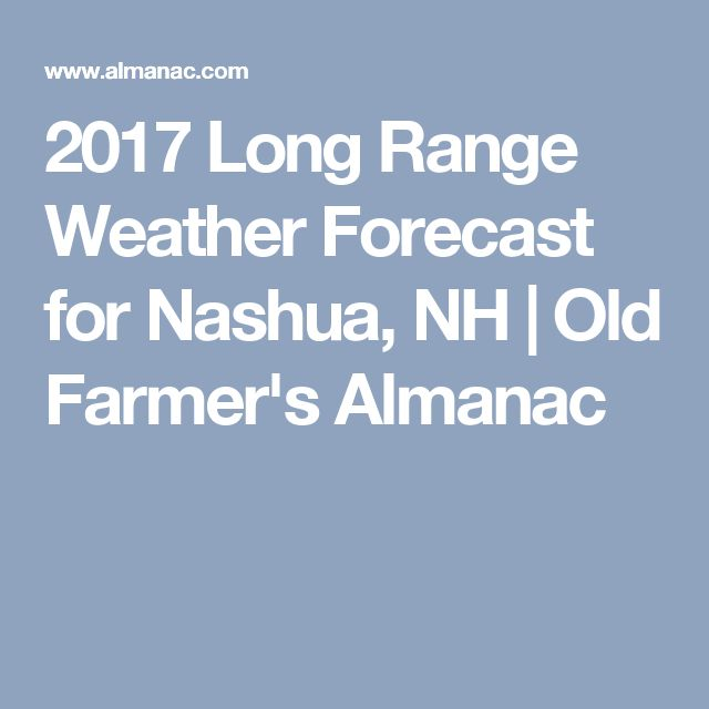 2018 Long Range Weather Forecast For Nashua, NH
