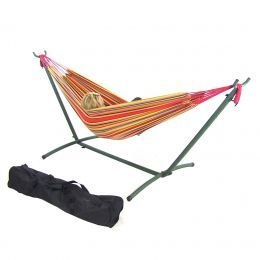 Red/Yellow Double Brazilian Hammock & Stand Combos- Tropical Paradise