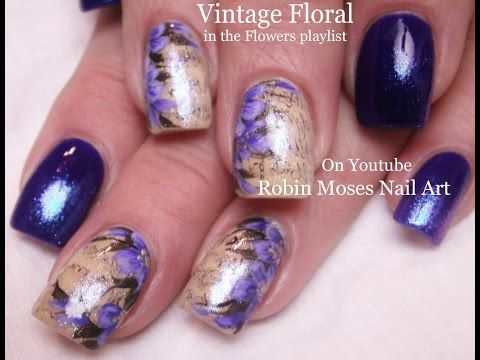 Nail Art Tutorial DIY Sharpie Nails | Vintage Purple Flower Nail Design - YouTube