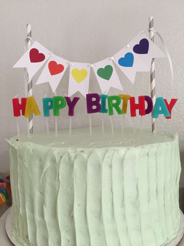 Colorful rainbow birthday party cake! See more party ideas at CatchMyParty.com!