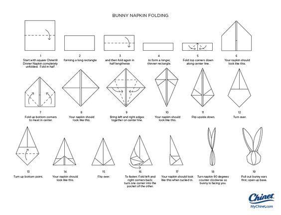 Bunny napkin fold popup and bunnies - Fold bunny shaped napkin ...
