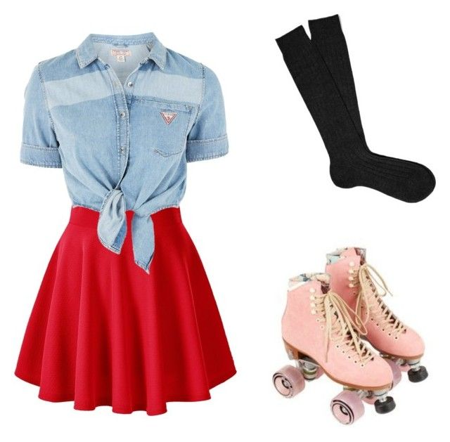 """""""Roller Girl"""" by unikitty864 on Polyvore featuring GUESS and Black"""