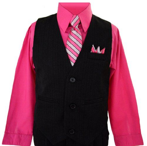 Boys Toddlers Fuchsia Pink Pinstripe Vest Suit Dress-wear with Shirt. Size 2T Black n Bianco http://www.amazon.com/dp/B00AW7V5NM/ref=cm_sw_r_pi_dp_96mhub0P52AT9