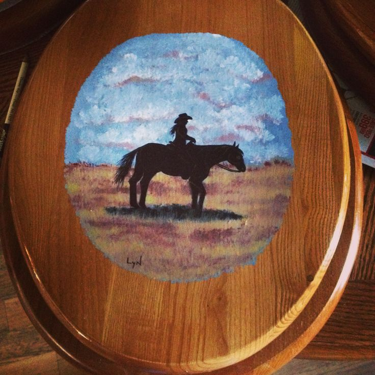 Casual Country series hand painted wooden toilet seats - Cowboy $45 starboundhorses.ca