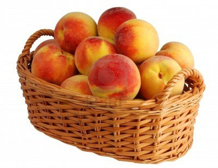 Image detail for -Basket Full Of Fresh Peaches Isolated On White Background Royalty Free ...