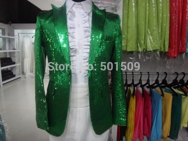 Free shipping green sequins mens tuxedo jacket/this is only jacket, not include others