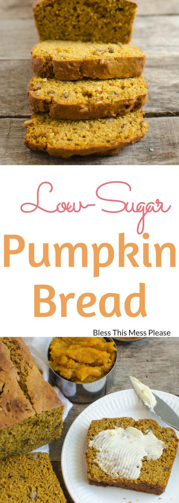 Low-Sugar Pumpkin Bread ~ Naturally sweetened and low-sugar pumpkin bread is full of flavor without the guilt.