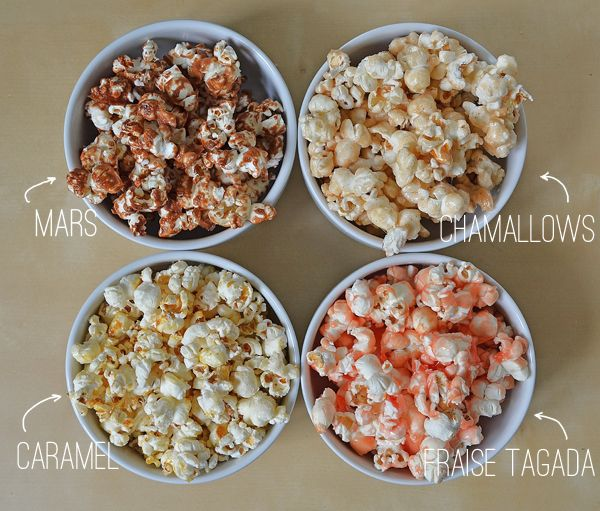 bar à pop corn (mars, chamallows, caramel & fraise tadaga)