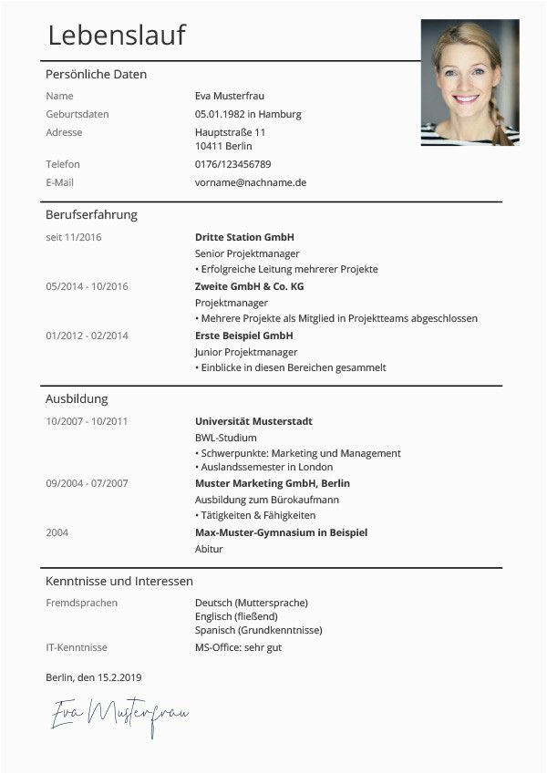 Lebenslauf Design 2 Seiten Di 2020