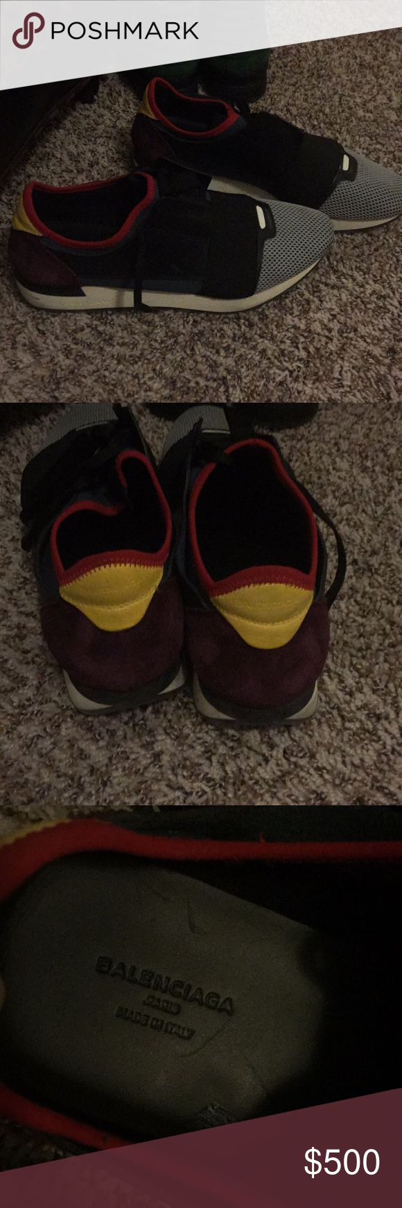 """Balenciaga Men's Authentic Balenciaga Men  Race Runners """"Slip On Sneakers"""" Made  in Italy  Used  Without box Good condition Color : Multi Color  Material : Leather, Rubberized neoprene , Jersey & Mesh  Size:44 = US Size 11 Original $750  Please know your size final sale Balenciaga Shoes Sneakers"""