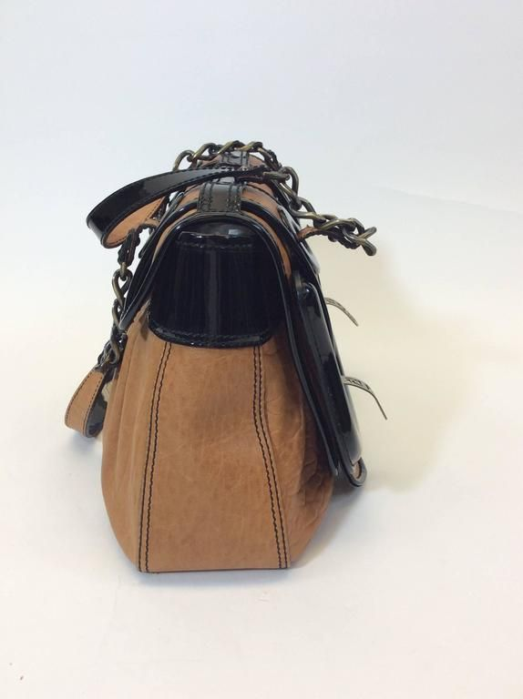 515637029688 fendi black patent and brown leather b buckle bursa shoulder bag for sale  at 1stdibs