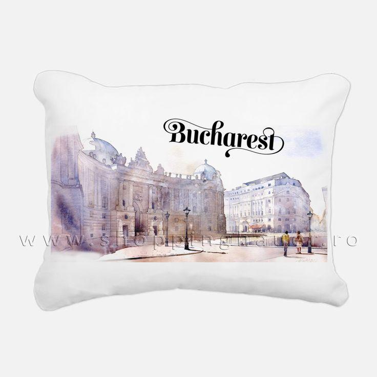 pernuta Bucuresti pentru terasele si barurile din capitala Romaniei  sau pentru cei care iubesc acest oras . Bucharest city decorative pillow 40 x 40 cm