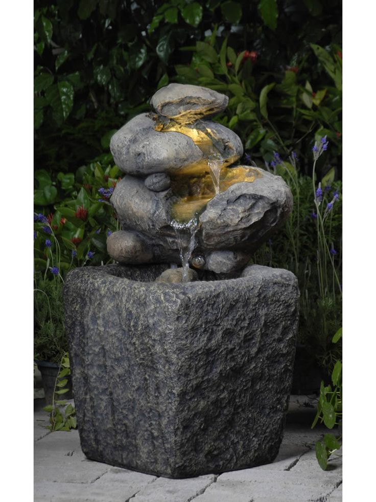 rock water fountain with led light