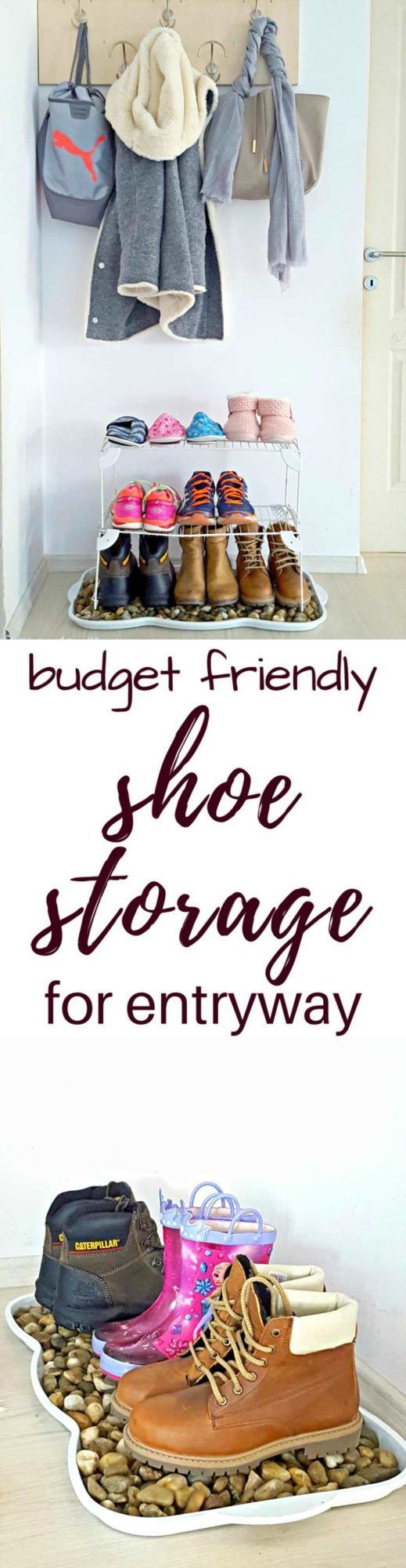 DIY SHOE STORAGE - Upgrade an old boot tray with this DIY shoe storage! Perfect for snowy boots, this front door shoe storage idea will completely change the look of your entryway!  #home #homedecor #forthehome #homedesign #homedecorideas #shoestorage #entryway #entrywaydecorideas #storage #storageorganization #StorageSolutions #organize #organizedhome