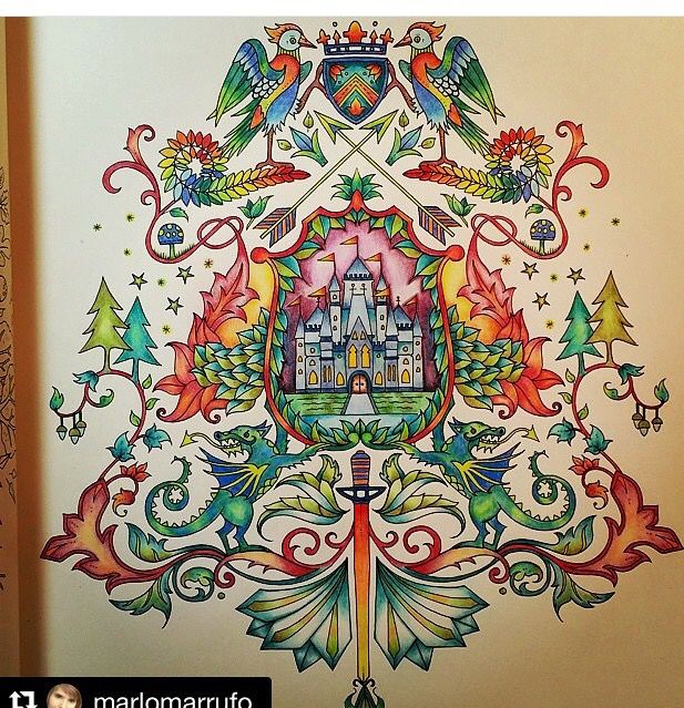 Coat Of Arms Castle Enchanted Forest Brasao Castelo Floresta Encantada Johanna Basford Coloring BookJoanna