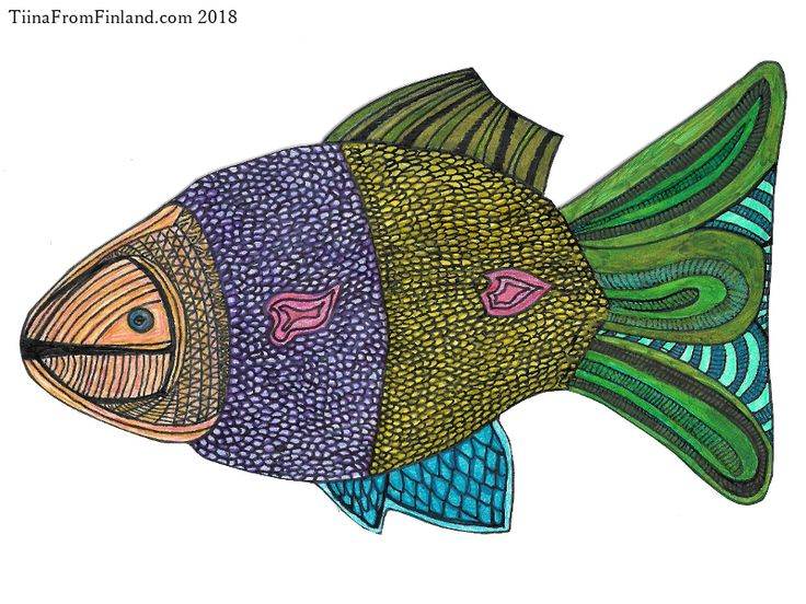 17th February, 2018 fish drawing by Tiina from Finland sent to Jan Willem Kouwen in The Netherlands. http://www.tiinafromfinland.com/mail-art/fish-drawing/ #mailart #fishart #drawings