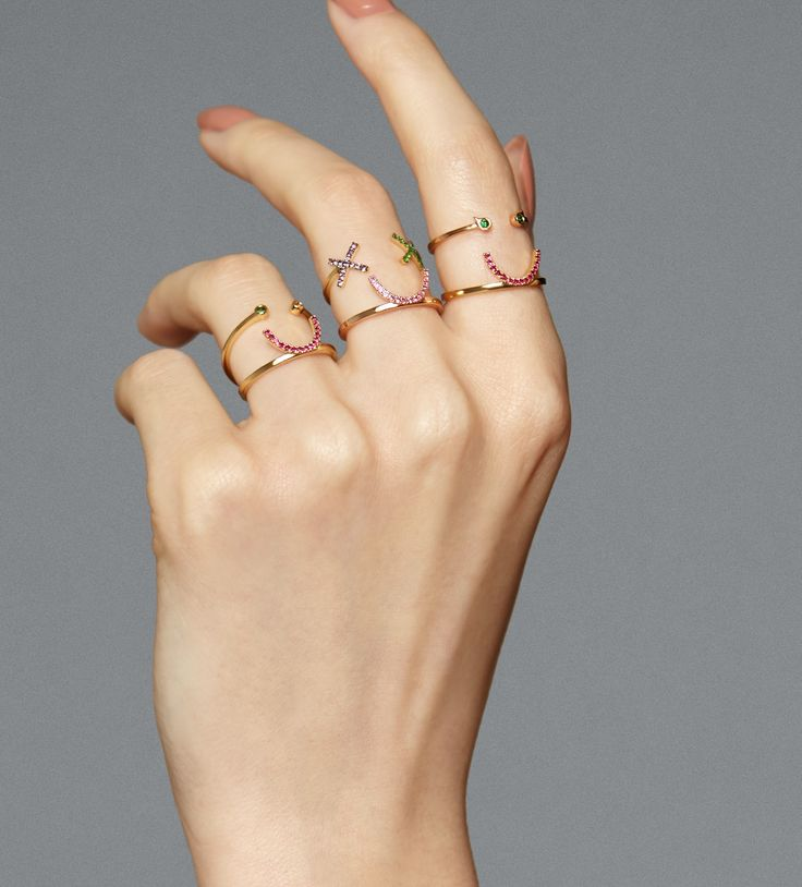 Kisses and smiles on every digit. Luxurious playground of oh so chic rings. Stack them for elegance with edge @ruifier