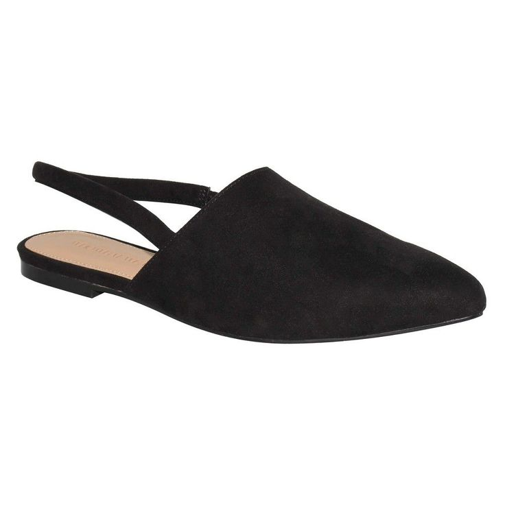 Women's Who What Wear Kat Microsuede Slingback Flats - Black 9.5