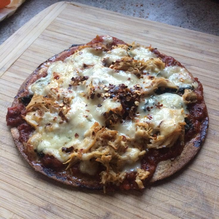 Currently drunk and fiancé is away for work. Made a tortilla pizza out of homemade marinara spinach pulled chicken crushed red pepper flakes and pepper jack cheese. All leftovers because I'm to cheap to buy one. #pizza #food #foodporn #yummy #love #dinner #salsa #recipe