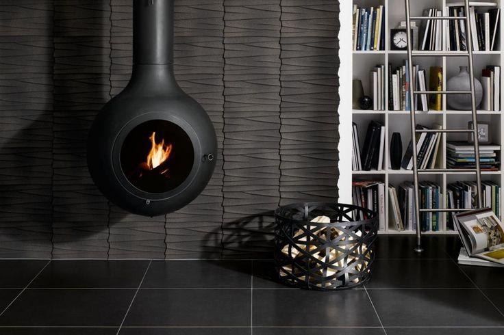 Schwarze Fliesen an Wand und Boden. Bild: Steuler Fliesen