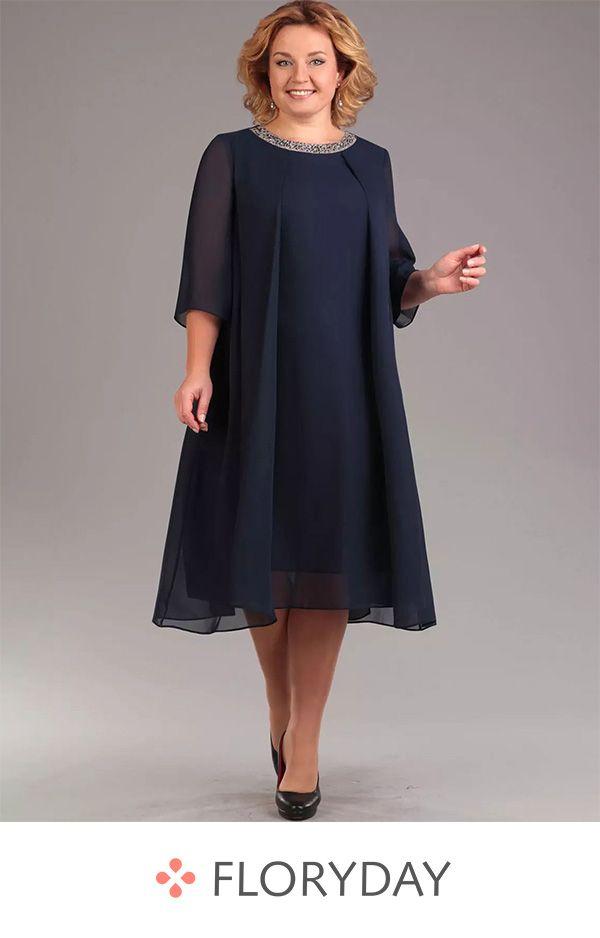 Große Größen mittellanges Kleid mit 3/4 Ärmel