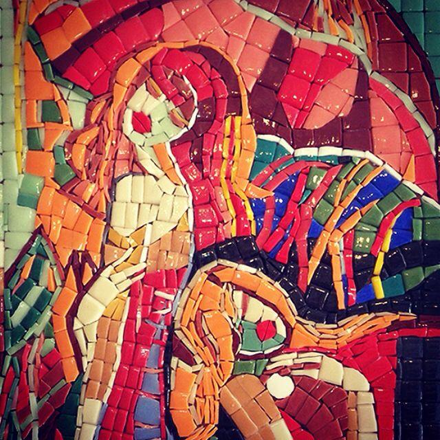 İki kadın mozaik pano 57x32 cm. Panonun tamamı için   http://www.arassta.com/products/469_mozaik