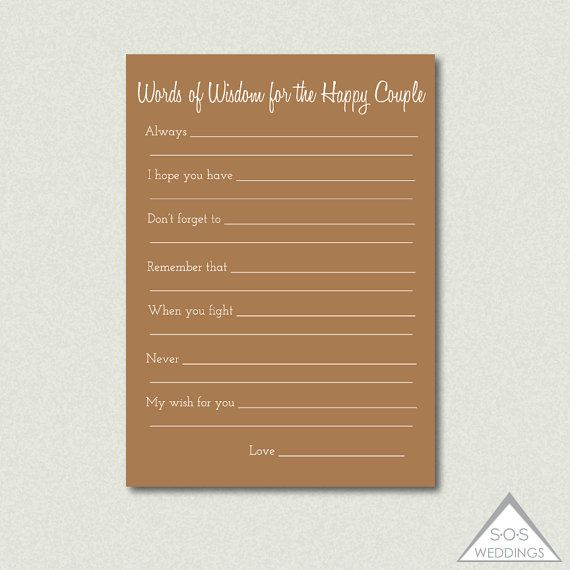 Printable Well Wishes Advice For The Couple Well Wishes For The