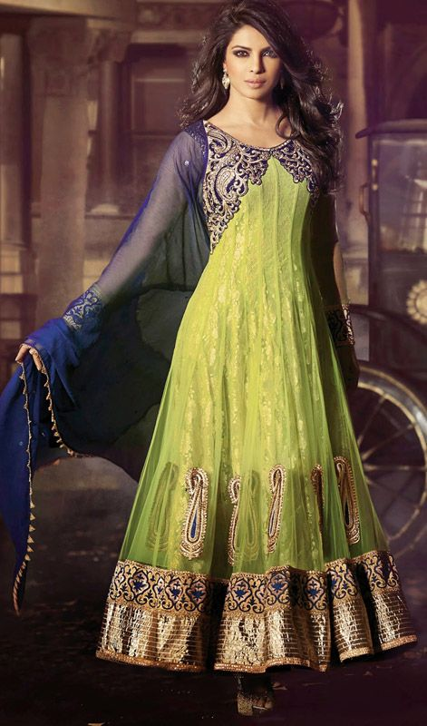 Look chic as Priyanka Chopra dressed in this green shade net long Anarkali suit. Beautified with lace, moti, resham and stones work. #PriyankachopraCollection