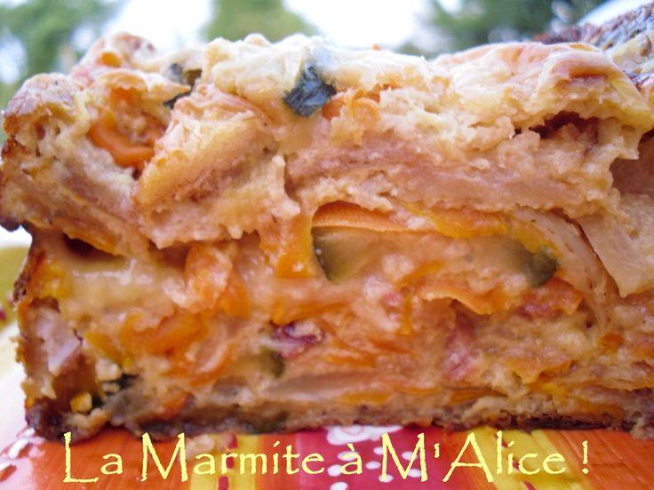 Pudding salé, lardons, oignons, courgettes, coeur de camembert... -
