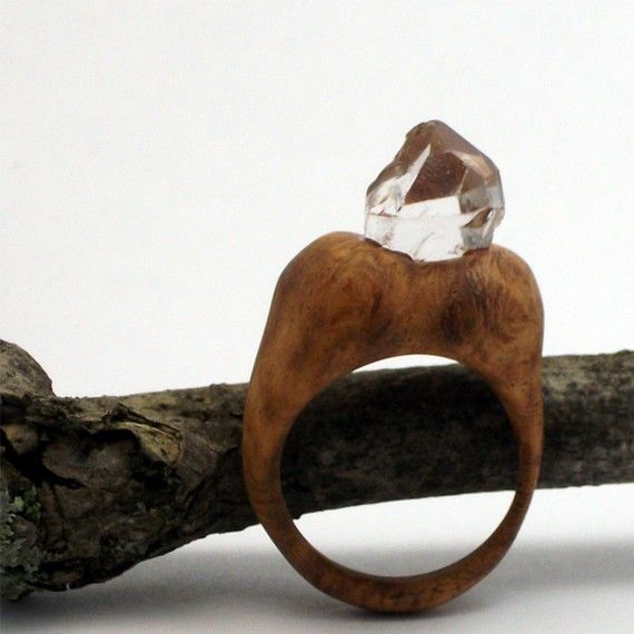 Wood Ring Crystal Exotic Brown Organic Grain OOAK Artisan Burl    Each piece has been hand carved from a single block of kiln-dried wood - various
