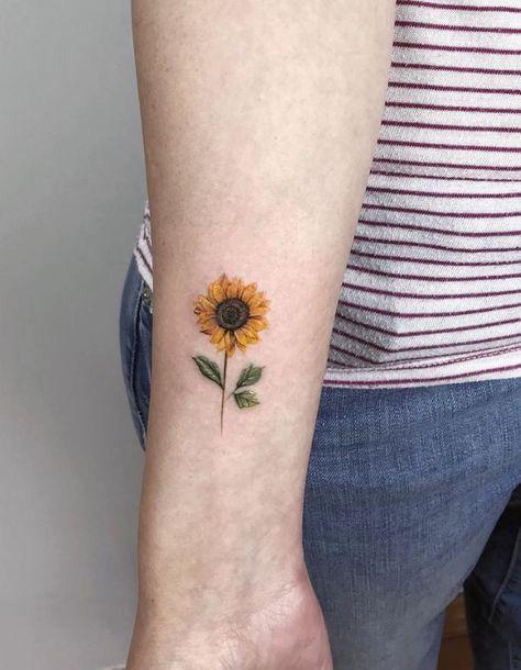 90+ Best Small Tattoos Of All Time For Girls - TheTatt | Sunflower tattoo on wrist, Beautiful flower tattoos, Tattoos