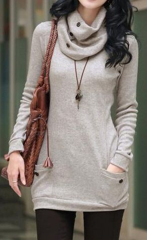 Oh I LOVE this: the cowl neck, slimming in the arms, lengthens the torso, serious bonus points for the pockets. And it looks SO comfy!!