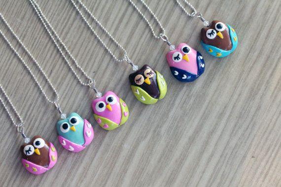 Polymer Clay Eule Anhänger Halskette mit von MySecretCravings