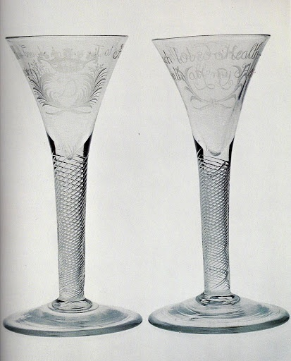 """Jacobite Drinking Glasses Set. Hand-Blown & Engraved Glass. Circa 18th Century. Engraved with Monograms and """"Here's to The beloved Health - with all my Heart"""". The Capital Letter """"T"""" which occurs in the """"The"""" on both Glasses is Significant."""