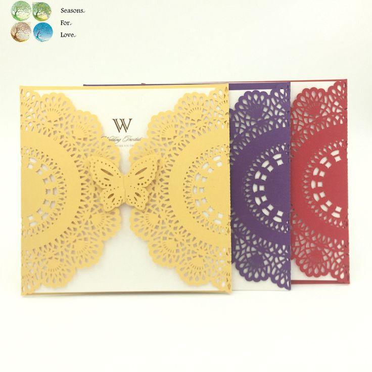 1 наборы обручальное приглашения свадебные приглашения карты свадебные сувениры подарки для гостей, лазерная резка кружева цветок бабочка уплотнения купить на AliExpress