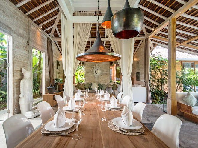 Villa Little Mannao | 4 bedrooms | Kerobokan, Bali | Combine with Villa Mannao to make 12 bedroom rent option #villa #interior #swimmingpool #openair #diningroom #bali #holidayvilla #decor #house