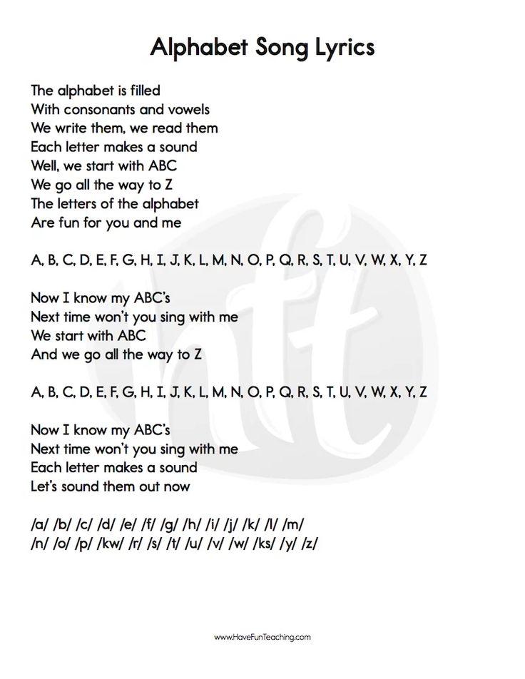Alphabet Songs Lyrics Alphabet Songs Have Fun Teaching Letter Song
