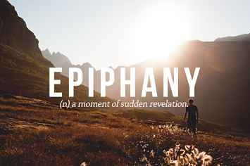 Epiphany- in the book SYLO, Tucker has an epiphany, in which he realizes why his parents moved to Pemberwick Island.