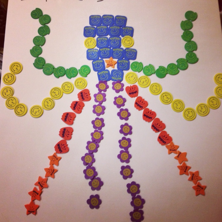 100 days of school project. My kindergartener made this. Stickers from the dollar store shaped as octopus: each tentacle has 10 stickers. Super easy for little kids to do by themselves and fun too.