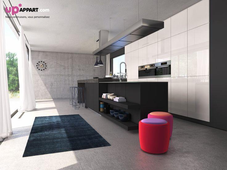 Une cuisine simple et moderne avec un sol béton.