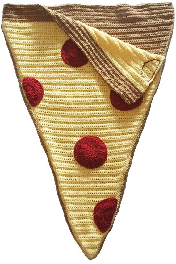 Pepperoni Pizza Blanket Crochet Pizza Cocoon by HarvesonCrafts
