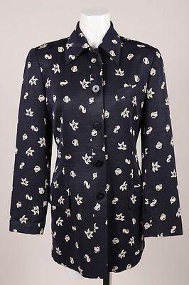 VINTAGE-Giorgio-Armani-Navy-Cream-Shells-amp-Sea-Horse-Print-Wool-Jacket-SZ-4