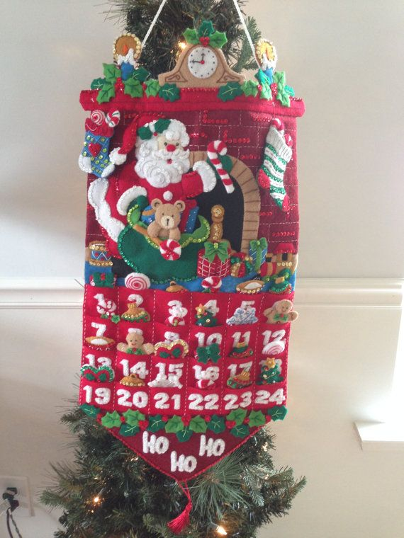 Christmas advent calendar hand made felt finished 24 ornaments decoration JillianBCreations on Etsy, $220.00
