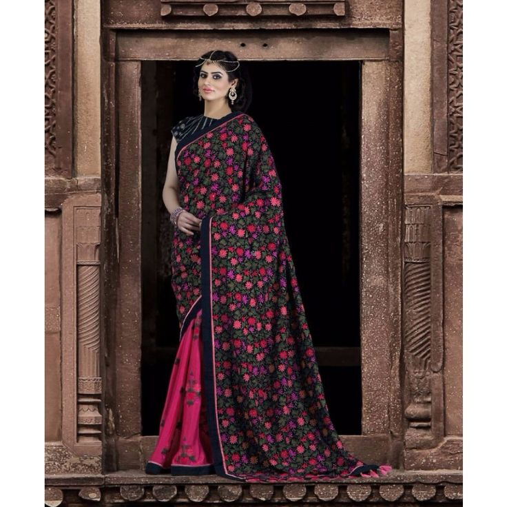 Pink and Black Silk Designer #Saree With Blouse- $160.27