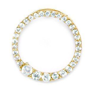 14k Yellow Gold CZ Circle Pendant - Measures 22x20mm - 22 Inch - JewelryWeb JewelryWeb. $192.50. Save 50% Off!