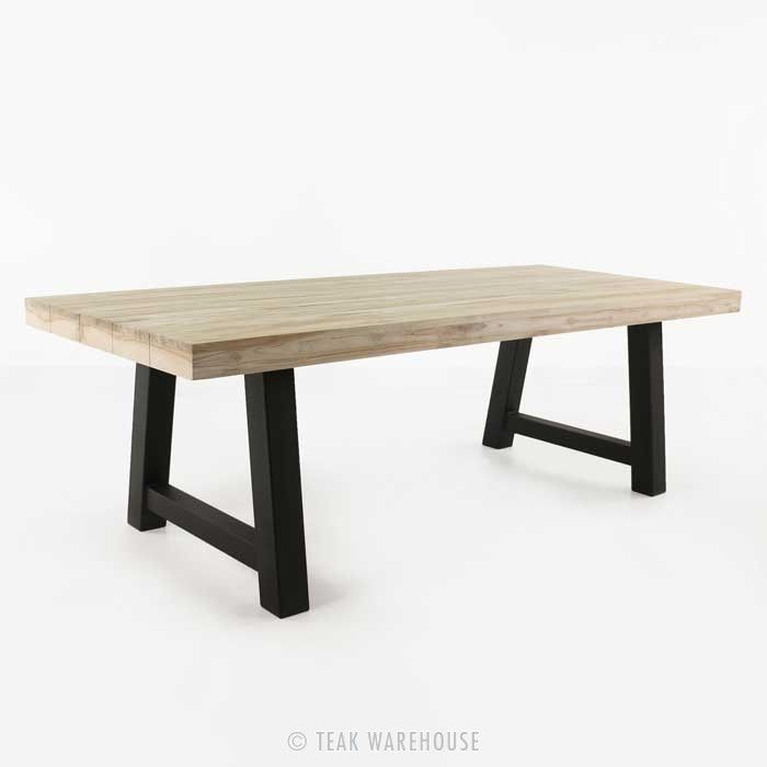 Village Teak and Steel Outdoor Dining Table (Black) - Dining Tables - Dining