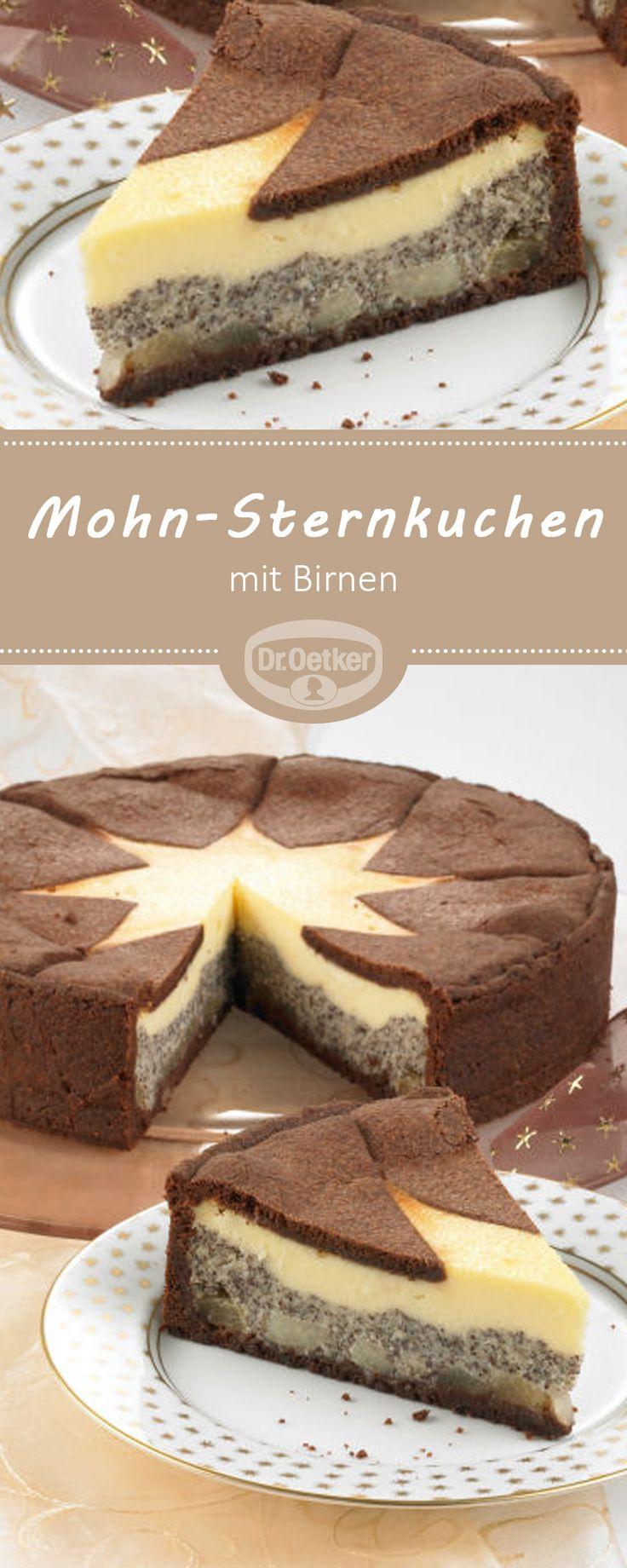 Mohn-Sternkuchen mit Birnen: Fruchtiger Mohn-Käsekuchen mit Birnen