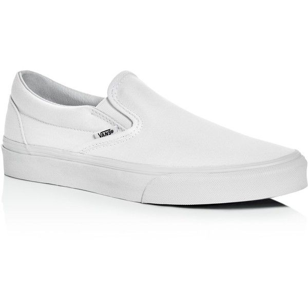 Vans Classic Slip On Sneakers ($50) ❤ liked on Polyvore featuring men's fashion, men's shoes, men's sneakers, white, mens white slip on shoes, mens slipon shoes, mens slip on sneakers, vans mens shoes and mens white slip on sneakers